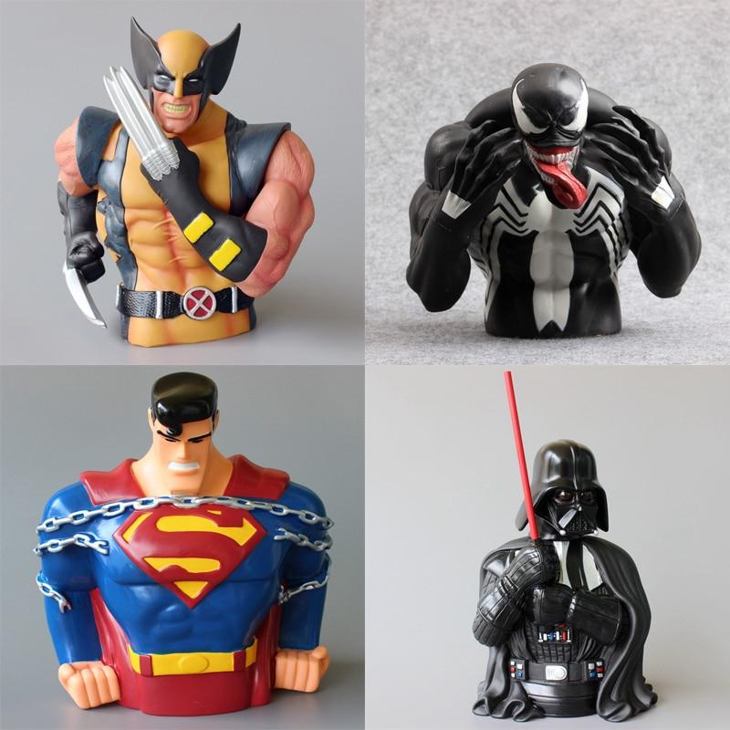 Hucha de superhéroes de Capitán América, Batman, Superman, juguetes de dibujos animados, caja de almacenamiento de monedas, regalo de cumpleaños para niños, 20 cm