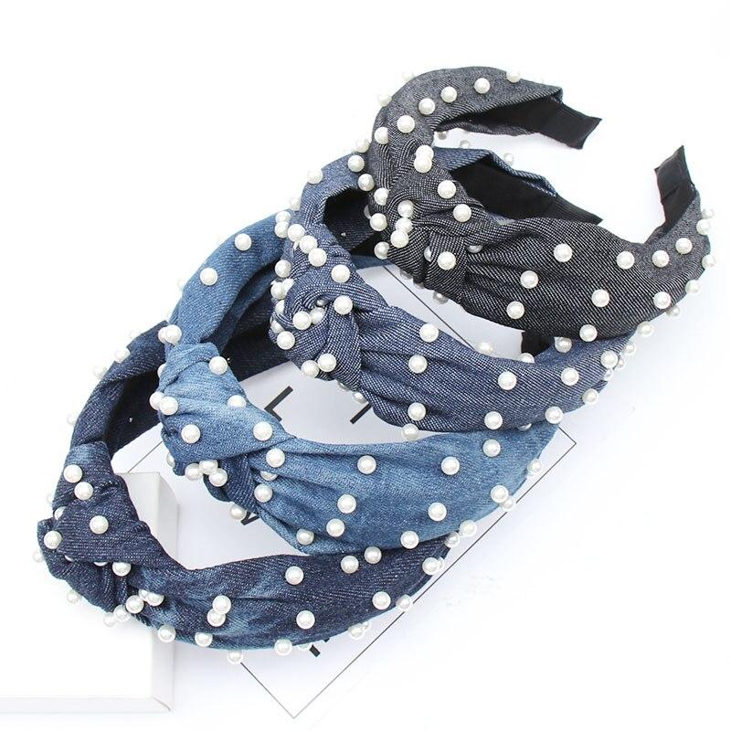 Diadema de moda para chicas Xugar con perlas, diadema con nudo central, Aro para el pelo, sombreros de tela vaquera azules, accesorios suaves para el cabello
