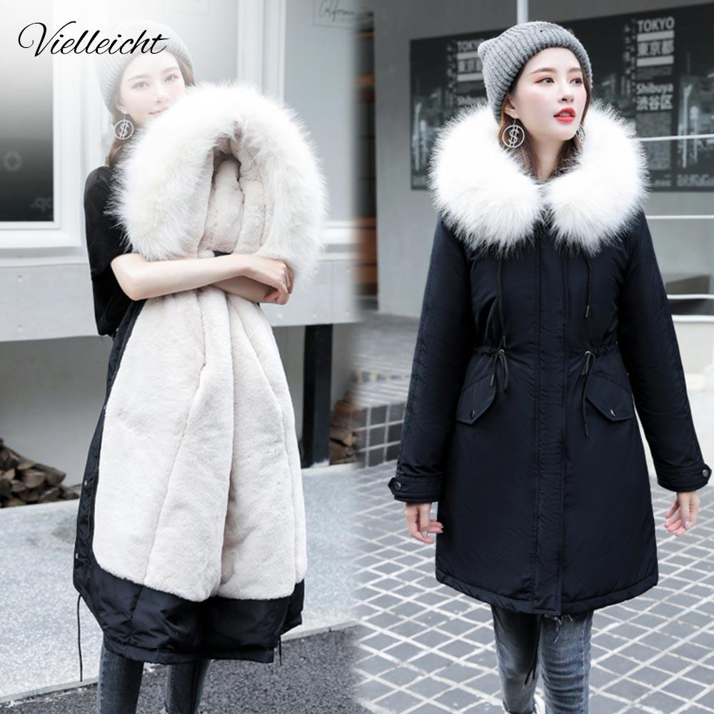 Vielleicht-30 grados ropa de nieve parkas largas chaqueta de invierno mujeres piel con capucha ropa de piel femenina forro de piel gruesa abrigo de invierno mujeres