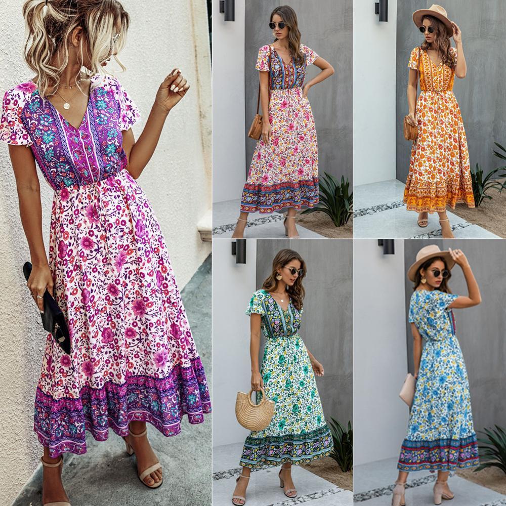 Vestido midi para mulheres verão boêmio floral babados casual manga curta midi vestidos boêmio floral 2020 vestido de verão