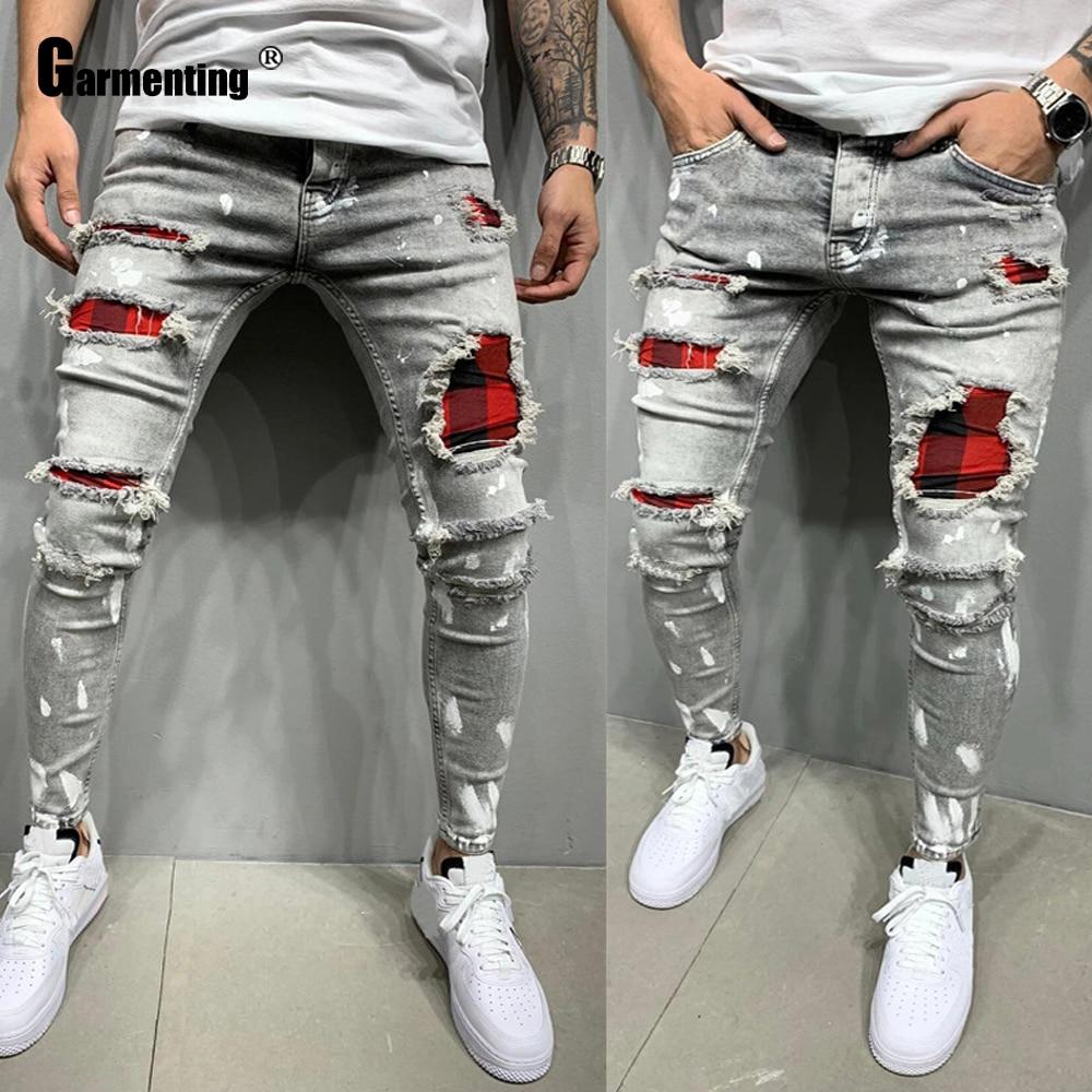 Мужские джинсы garментации, облегающие брюки из джинсовой ткани, мужские модные рваные брюки в стиле пэчворк, уличная одежда, потертые джинсы...