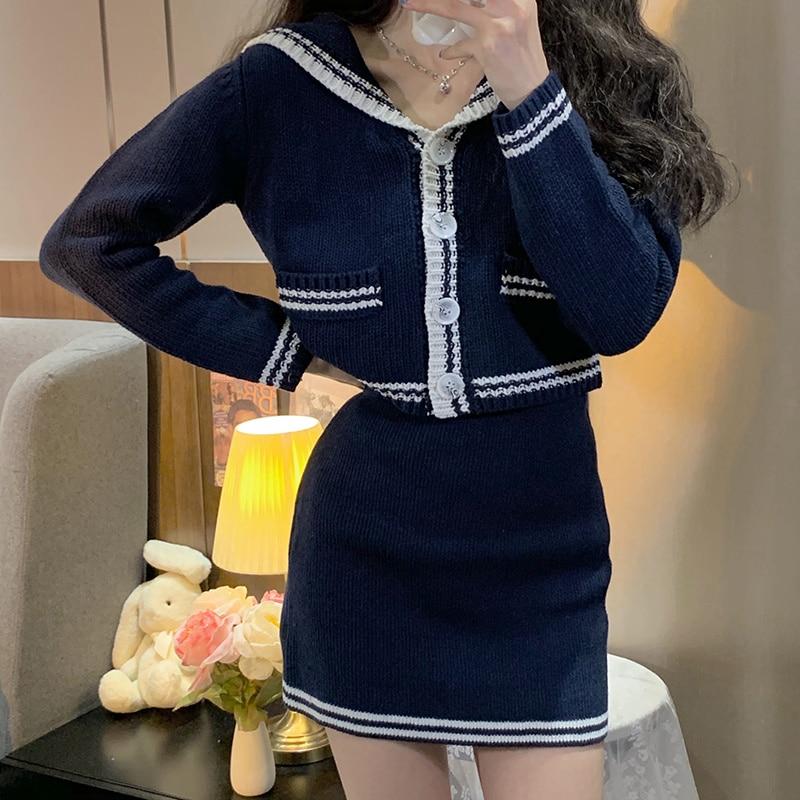 Женский костюм с юбкой, универсальный свободный свитер контрастных цветов с длинным рукавом и воротником в Корейском стиле, в иностранном с...
