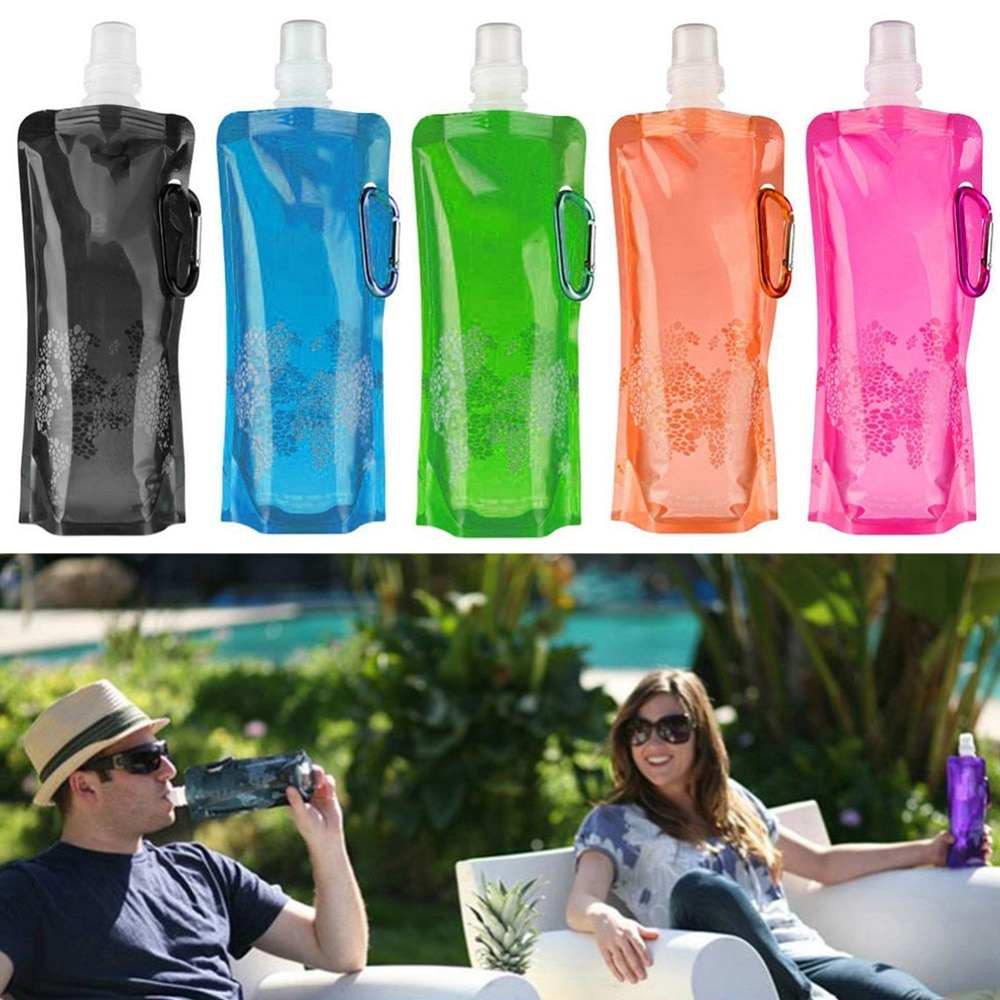 Botella de agua plegable portátil de 500ML, bolsa suave de plástico para acampar, ligera, segura, reutilizable, paquetes de agua helada para montañismo