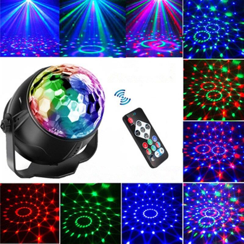 Мульти Узоры LED Звук Активированный Шар Дискотека Свет +Сцена Свет RGB Лазер Проектор Ночь Свет Лампа Свадьба Вечеринка Принадлежности