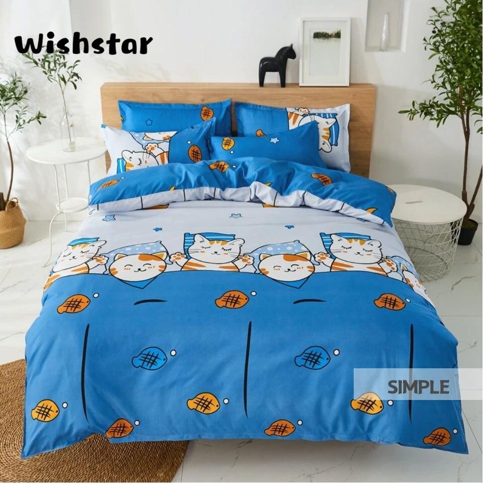 Wishstar, buena noche, juego de cama de gato de dibujos animados, juego de cama Kawaii, juego de ropa de cama azul de una sola sábana, funda nórdica, juego de ropa de cama para niños y niñas