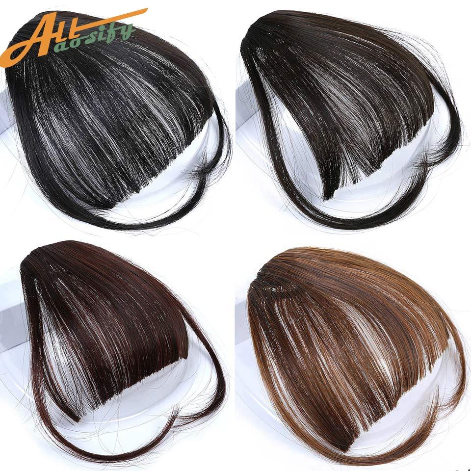 Allaosify Clip In Hair Bangs Hairpiece Synthetic Fake Bangs Hair Piece Clip In Hair Extensions Blunt Bangs Clip on Bangs Black