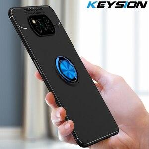 Ударопрочный чехол KEYSION для Xiaomi POCO X3 NFC, мягкий силиконовый Магнитный чехол с металлическим кольцом и подставкой для телефона Pocophone X3 NFC