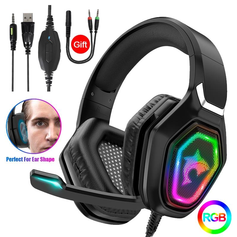 الراقية RGB ضوء 7.1 باس ستيريو ألعاب سماعة رأس بمايكروفون ل PS4 بلاي ستيشن 5 قطعة هاتف محمول LED السلكية سماعة الألعاب