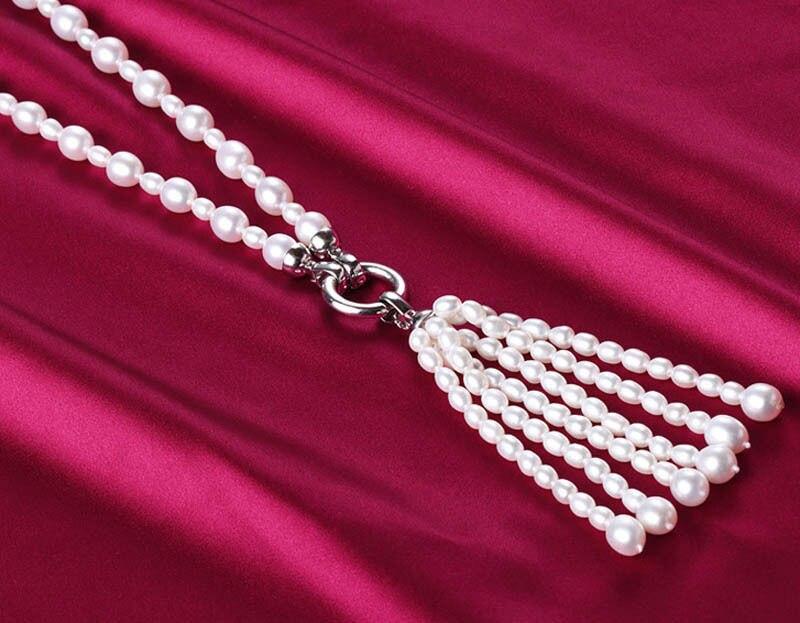 Модная новинка AA 8-9 и 3-4 мм Подлинная белая капельная пресноводная овальная жемчужина ожерелье