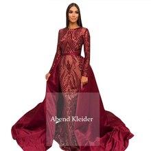 Long Sleeves Burgundy Evening Dresses 2020 Mermaid Abendkleider Muslim Women Gown with Detachable Skirt Robe De Soiree Longue