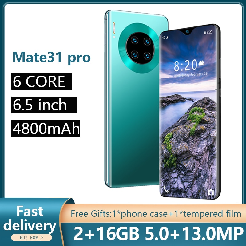 SOYES Mate31 Pro 6,5 pulgadas versión Global teléfonos móviles desbloqueo facial teléfono 2GB RAM 16GB ROM Smartphones 4800mAh 5 + 13MP teléfonos móviles