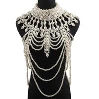 retro advanced pearls crystal body jewelry chain sexyhandmade beaded women bridal wedding dress large necklace jewelry accessor