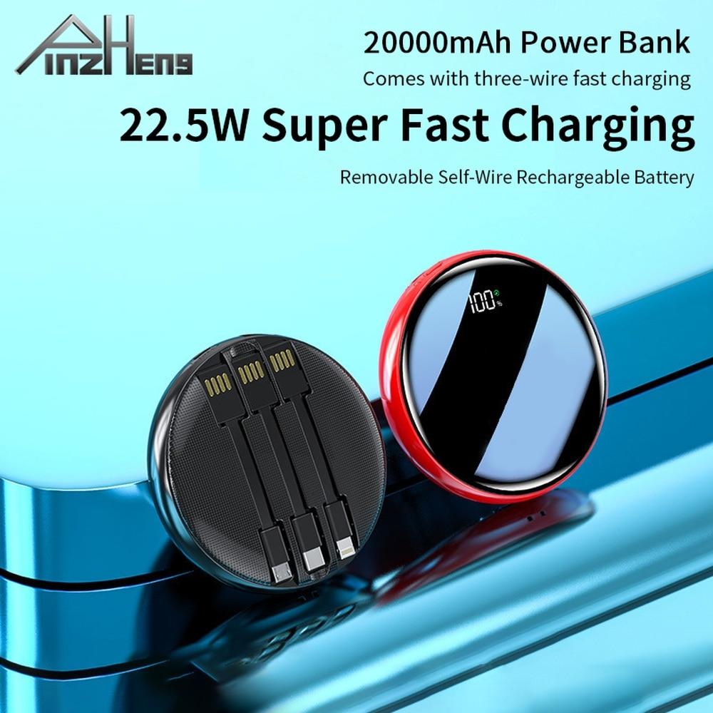 PINZHENG 10000mAh قوة البنك آيفون شاومي قوة البنك المحمولة شاحن بطارية العرض الرقمي USB باور بانك صغير Poverbank