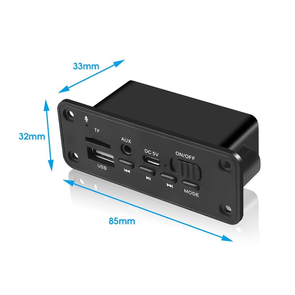 Manos libres Bluetooth 5,0 FM Kit de coche Radio MP3 jugador decodificador Junta módulo con micrófono 2*3W amplificador U-disco TF tarjeta 3.mm AUX