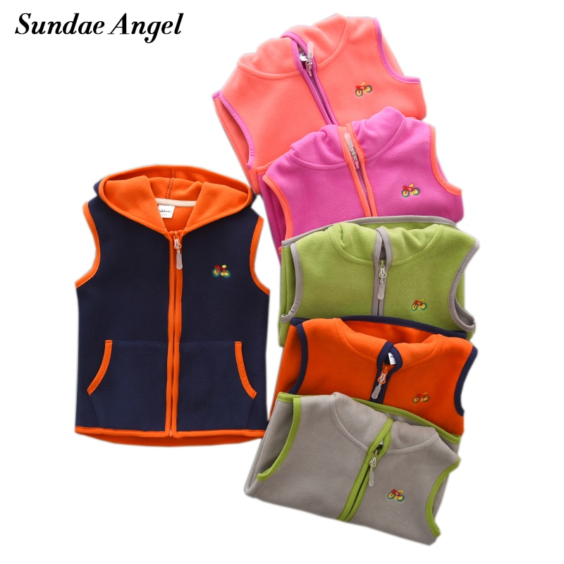 Sundae Angel Girls chaleco niño sin mangas chaqueta con capucha Polar chaleco niños Gilet Fille bordado niños chalecos