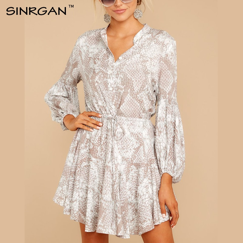 SINRGAN Snake Print Dress Women  2020 Spring Casual A Line Animal Print Party Dresses Full Sleeve Mini Dress