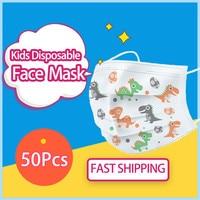 50PCS Kids Anti-Haze Cute Disposable Cartoon Mouth Masks 3-Layer Breathable Non-woven Dustproof Mouth Face Cute Dinosaur Mask