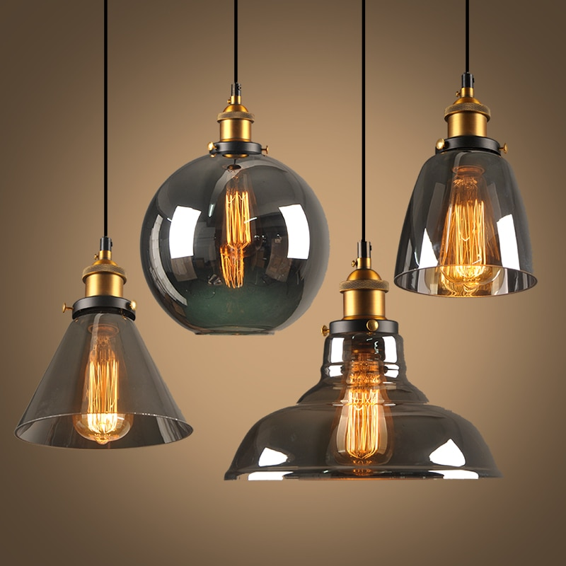 Vintage Pendant Lights Glass Pendant Lamps Loft Industrial Hang lamp Smoky grey  Modern Lustre Pendent