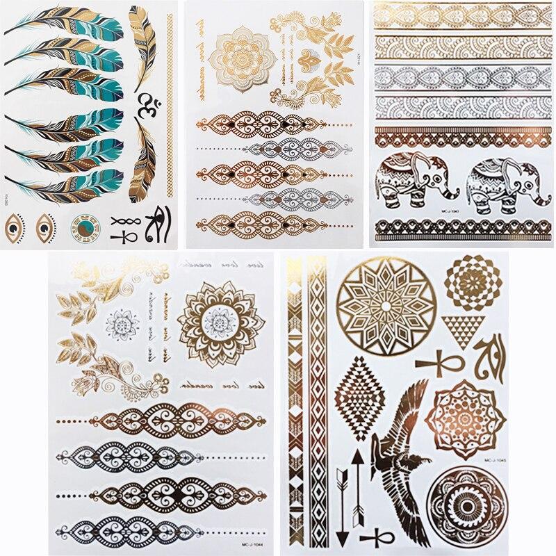 1 шт/л случайные водонепроницаемые Временные татуировки для женщин хна тело руки искусства поддельные флэш-Татуировки золотые серебряные металлические татуировки наклейки