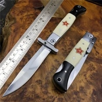 russian finka nkvd kgb wit edc manual folding pocket knife black and white resin handle 440c blade mirror finish outdoor camping