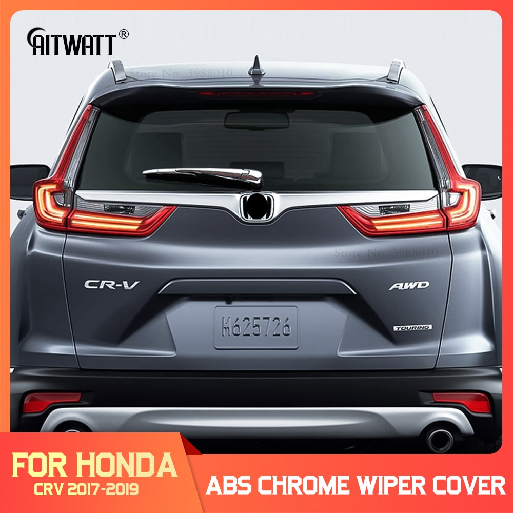 AITWATT pour Honda CRV CR-V 2019 2018 2017 voiture pare-brise garniture ABS Chrome arrière verre essuie-glace buse couverture queue fenêtre cadre 4 pièces
