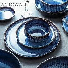 ANTOWALL assiette céramique nordique créative   Assiette plate à rayures bleues assiette en céramique domestique assiette occidentale assiette à pâtes et steak