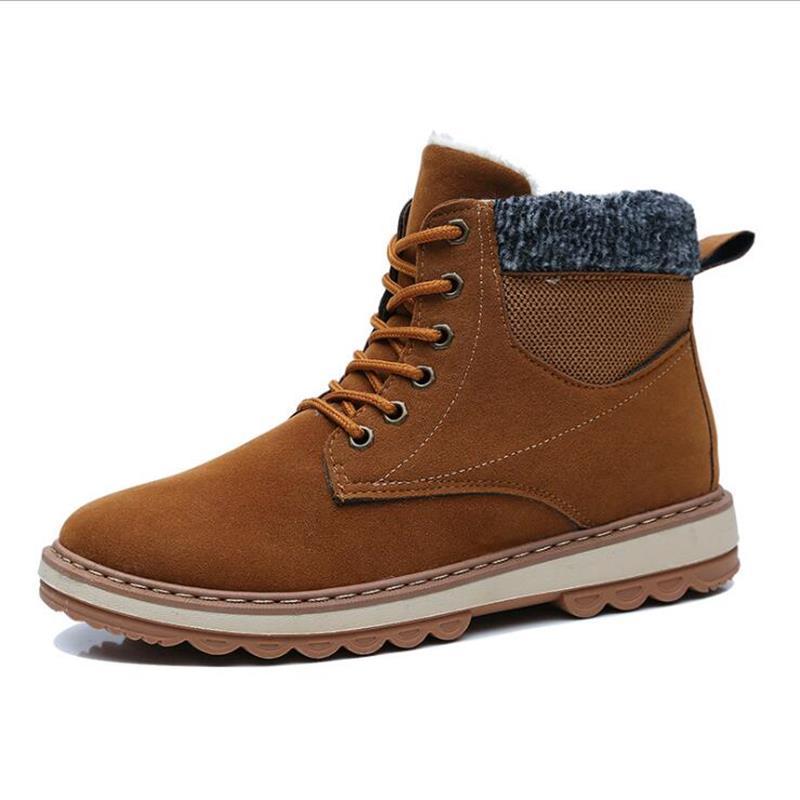 2019 Winter New Warm Plus Cotton Fashion Color Matching Stitching Plus Velvet Trend Non-slip Climbing Mens Snow Boots