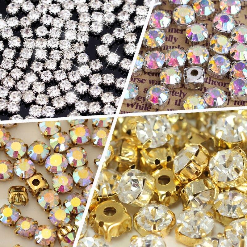 Formas redondas prata & ouro costurar em strass com garra cristal/cristal ab vidro glitter strass para vestido de casamento b1157
