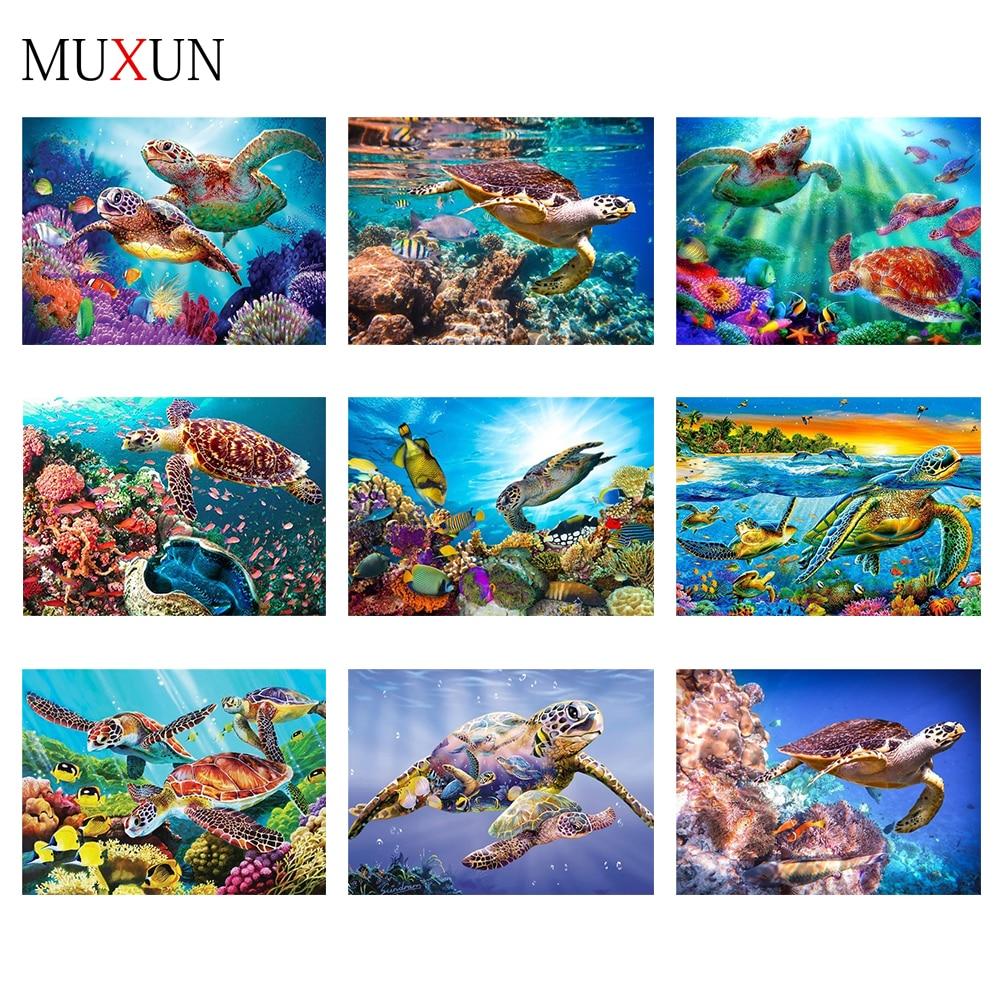 Muxun Full Square 5D Diy Diamond Painting Turtle 3D Diamond Embroidery Cross Stitch Diamond Mosaic Animal Home Decoration  Ep123