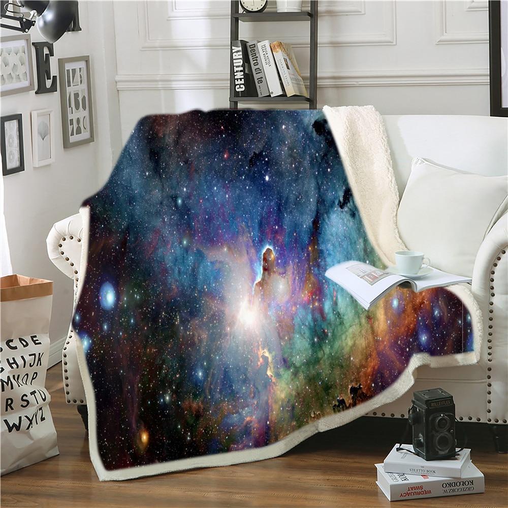 Manta de Lana Sherpa para el espacio exterior con diseño de galaxia en 3D, manta para sofá cama de 150x200cm, ropa de cama cálida para niños y niñas personalizada