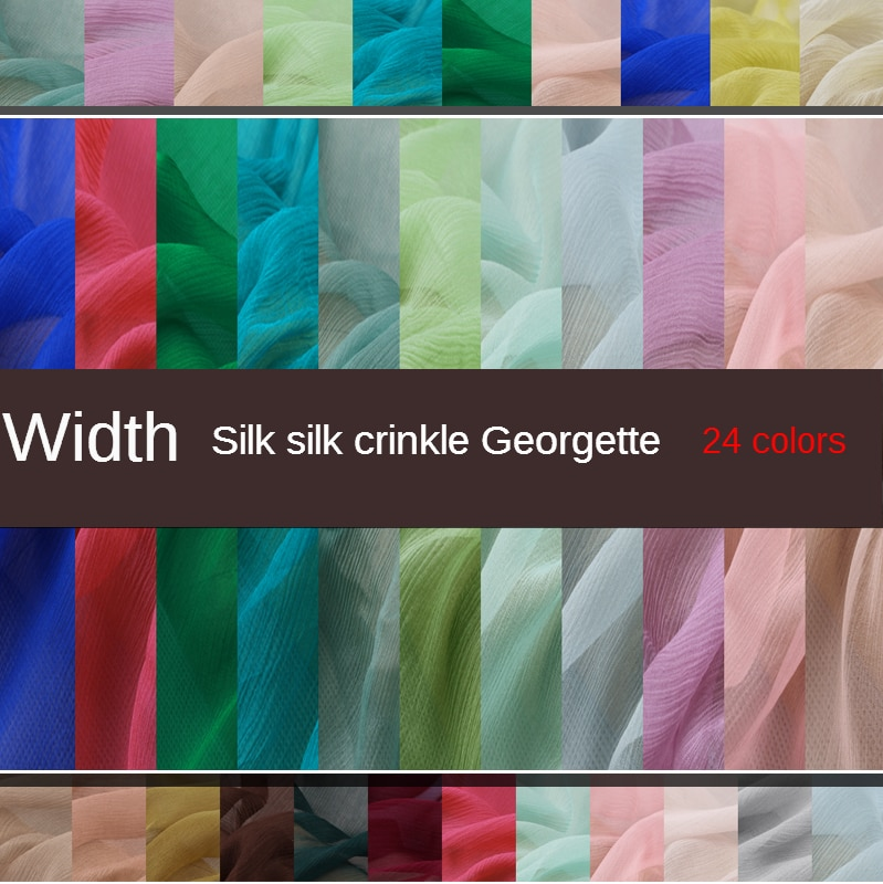 Fino ancho seda georgette seda traje Han falda ropa tela costura de bricolaje hecha a mano tela perspectiva tela