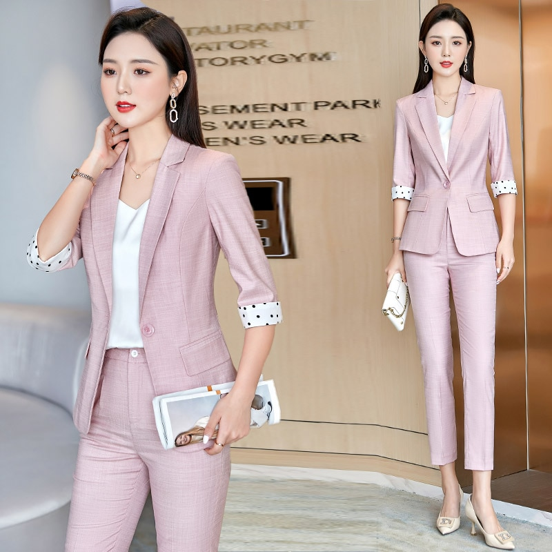 Pink Suit Female 2021 Spring and Summer New Casual Business Attire Temperament Goddess Style Two-Pie