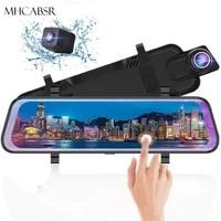 4k dash cam 10 inch mirror car dvr driving recorder full touch screen stream media dashcam rear view camera 24h parking monitor
