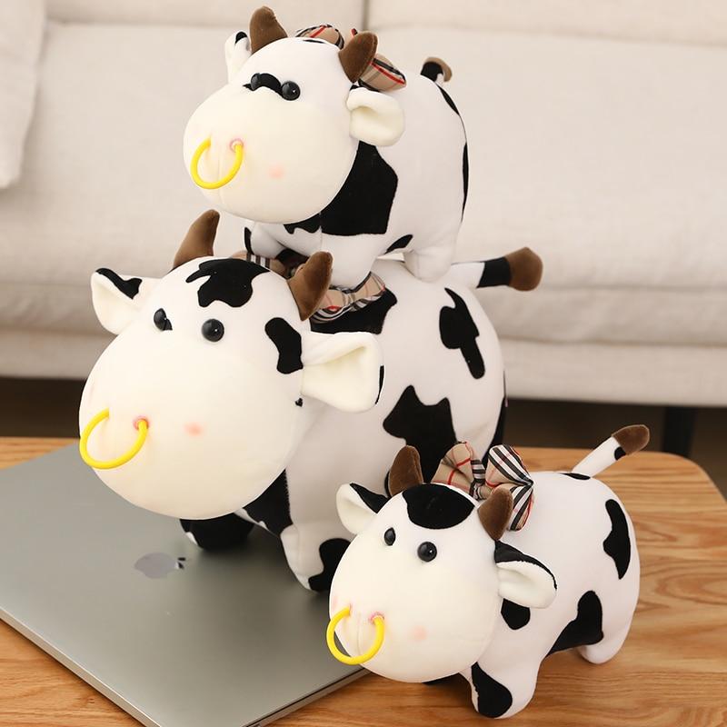 Free Shipping Lovely Cattle Plush Stuffed Dolls Cute Milk Cow Plush Toys Soft Nap Pillow Cushion Cartoon Birthday Gift 1pc 45 40cm simple pikachu pillow cushion plush toy dolls decorative pillows cartoon plush toys