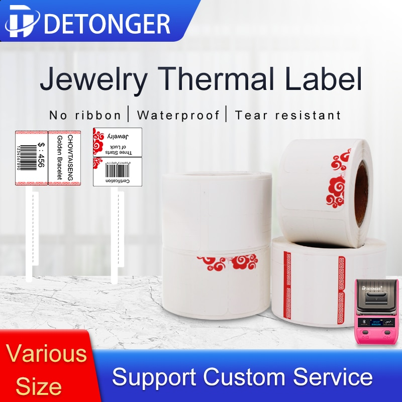 DETONGER Adhesive Thermal Label Paper Jewelry Price Tag with Free App Template Sticker Paper Self-anhensive Labels Adhensive