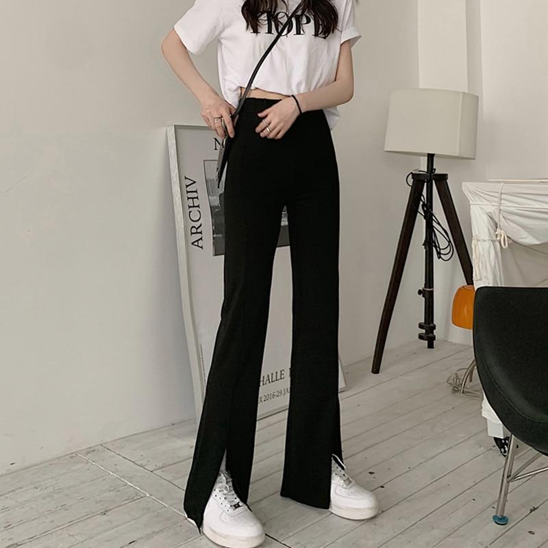 2021black Slit Pants High Waist Drooping Split Suit Pants Draping Effect Pants Small Bell-Bottom Pan
