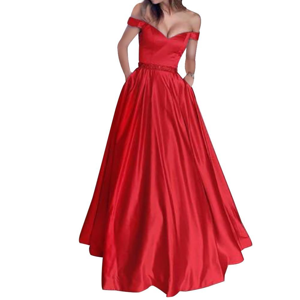 Gorące kobiety Sexy Solid Color V Neck bez rękawów Off Shoulder długa suknia wieczorowa