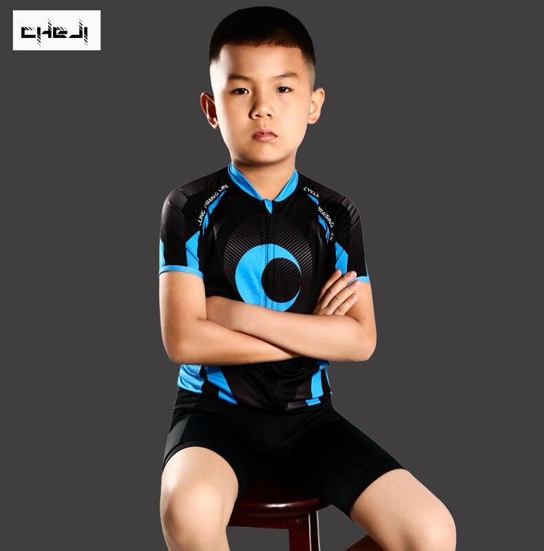 ¡Novedad de 2019! Conjunto de Jersey y pantalones cortos de bicicleta para niños de CHEJI, camisetas de manga corta personalizadas de verano para ciclismo y Kits inferiores
