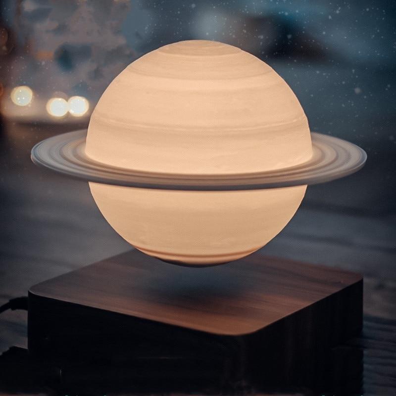 Night Light Creative 3D Magnetic Levitation Moon Lamp Rotating Christmas Led Floating Moon Light Home Decoration Holiday Gift enlarge