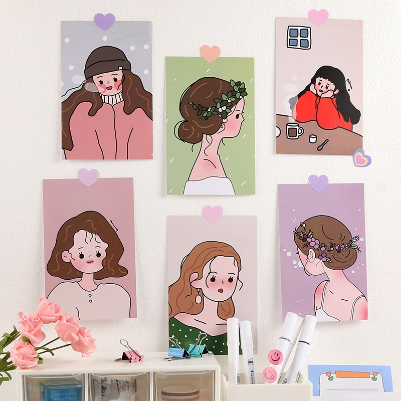 Корейская Ins 6 листов, милая девушка, иллюстрация, серия, украшение, открытка, реквизит для фото, розовая открытка, спальня, настенная наклейк...