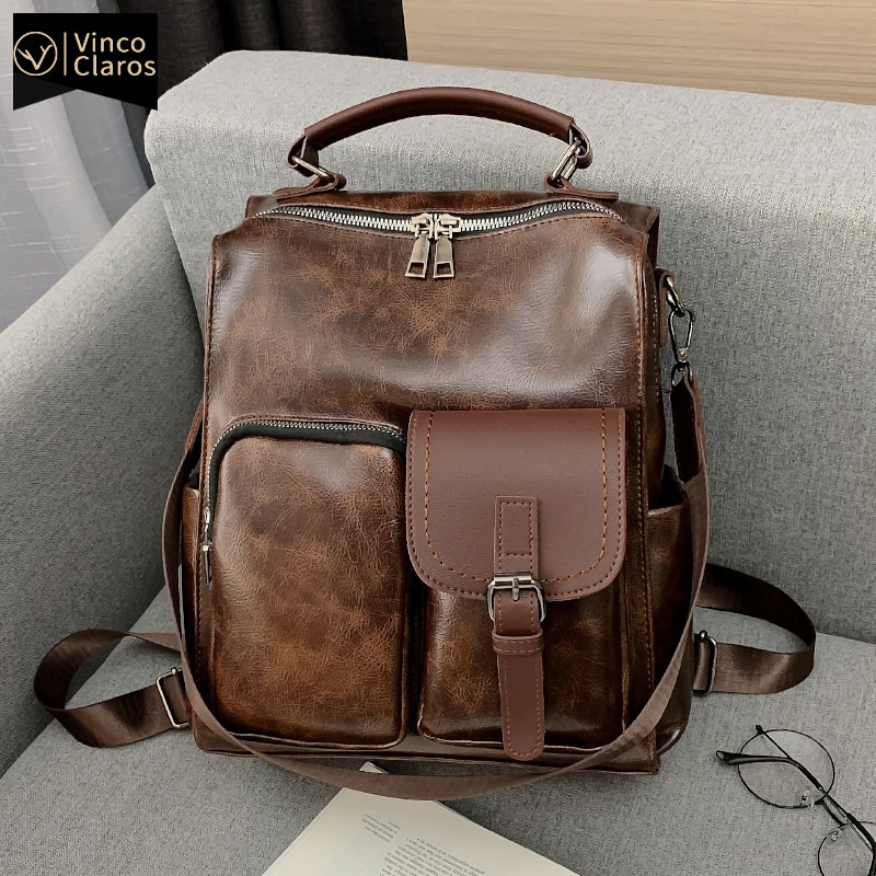 Fashion Leather Backpack Women Travel Luxury Qualited Backpacks Bags for Women Large Capacity Waterproof Bookbag Vintage Mochila