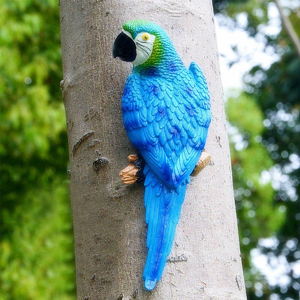 Toy Sculpture Half Side Resin Garden Decor Lifelike Figurine Model Ornament Artificial Simulation Parrot