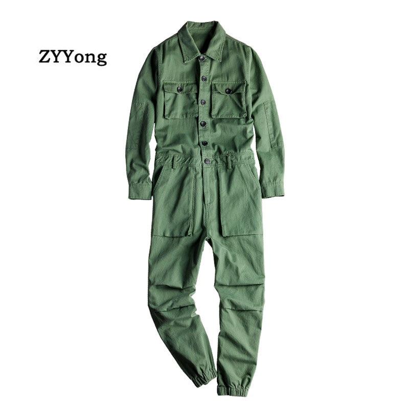 Men's Jumpsuit Long Sleeve Lapel Beam Feet Cotton Overalls Hip Hop Streetwear Loose Cargo Pants Green Black Freight Trousers