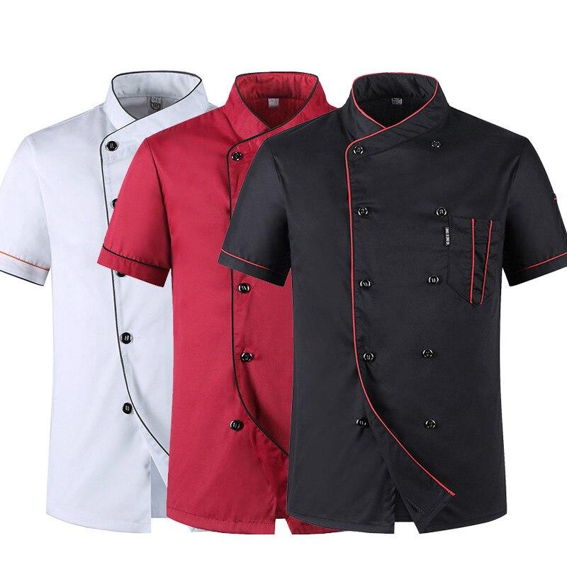 Рабочая Униформа с коротким рукавом для ресторана шеф-повара, двубортные жакеты или фартуки для суши, хлебобулочных изделий