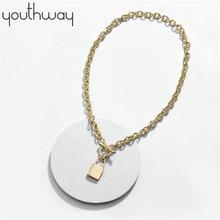 Nouveautés lucky lock pendentif chaîne collier or couleur bascule fermoir collier ras du cou mode court pull collier pour les femmes