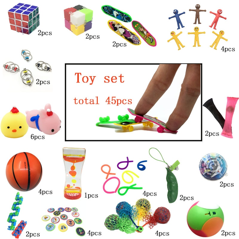 2020 New Interesting Combination 45 Pieces Extrusive-Solving Fidget Kids  Various Styles Unzip Toy Set Wholesale