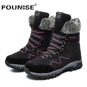women boots winter 2019 fashion Leather snow boots outdoor Round Toe waterproof  high top Platform Boots woman plus size 35-42