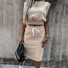 2021 Summer Women Causal Round Neck Two Piece Dress Homewear Sleeveless Plain Shirring Detail Top &