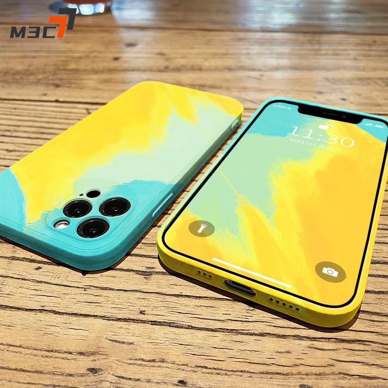 M3C Watercolor Square Liquid Silicone Phone Case For iPhone 12 11 Pro Max Mini XS XR X 8 7 Plus SE 2