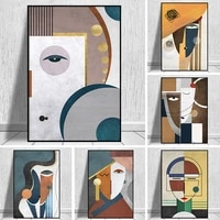 abstract figure splice face geometric canvas painting poster prints modern wall art pictures cuadros for living room home decor